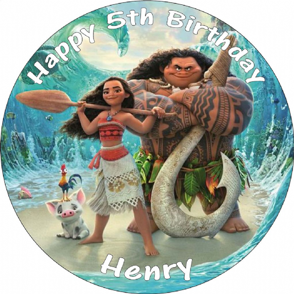 MOANA PERSONALISED EDIBLE PRINTED ROUND BIRTHDAY CAKE TOPPER